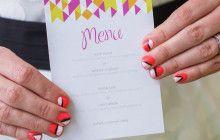 Neon geometric wedding #weddingstationary #nailart