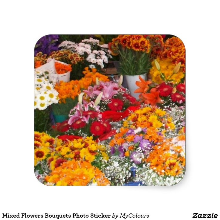 Mixed Flowers Bouquets Photo Sticker