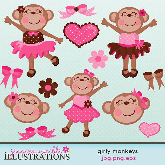 Girly Monkeys Cute Digital Clipart for Card Design, Scrapbooking, and Web Design