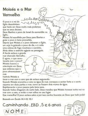 CANTINHO DAS HISTÓRIAS BÍBLICAS: LIÇÃO BÍBLICA INFANTIL MOISÉS E O MAR VERMELHO