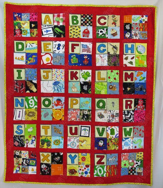 Alphabet I Spy Quilt  Child's Alphabet Themed Boy's von StitchNWine