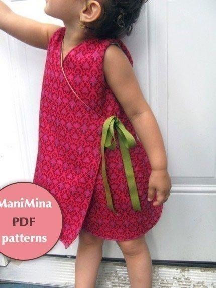 Reversible kimono dress PDF pattern12m to 4T by ManiMina on Etsy, $6.00