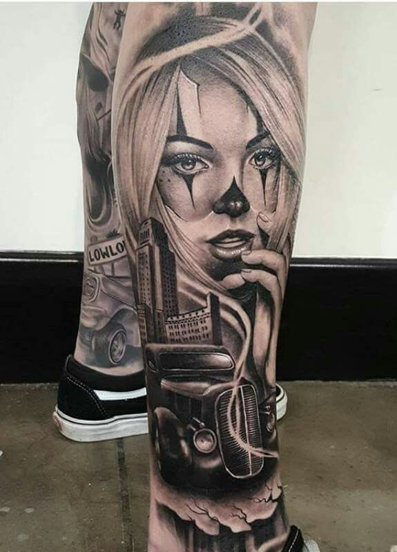 Tattoo day of the dead girl leg arm sleeve.
