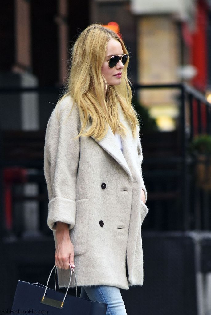 Kate Bosworth autumn street style with MiH beige coat.