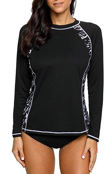 e906d304fbf17 beautyin Athletic Swim Shirt for Womens Rashguard Swimwear Long Sleeve  Black M