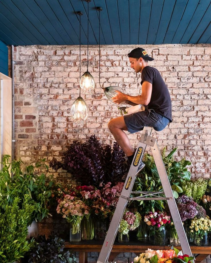 Finishing touches going in at our new florist. These grogeous pendant lights are from Soktas Glass Designs, the organic glasswork perfectly compliments the fresh blooms in the shop.   101 Swan Street,  Richmond, Australia.