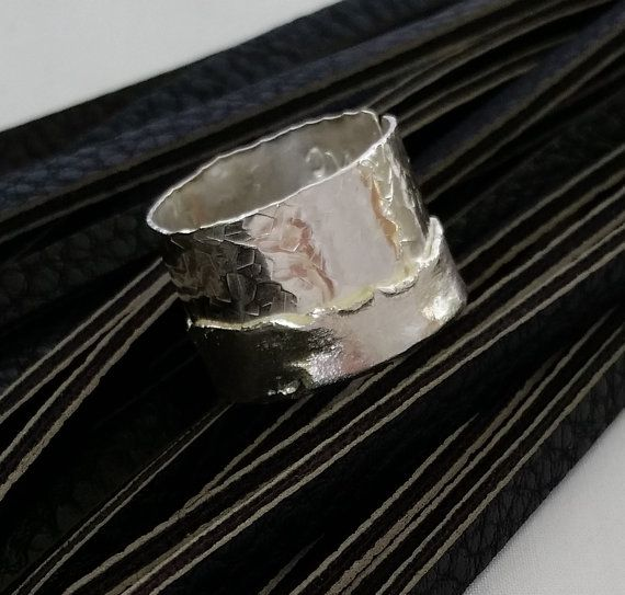 Adjustable sterling silver wide ring by modernsilver on Etsy
