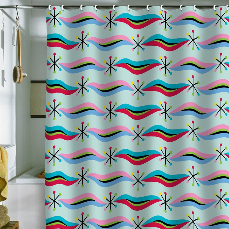 loves the contrasting shapes and colours in this cool shower curtain