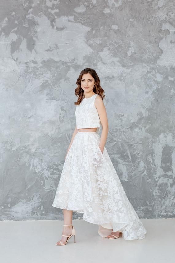 Two Piece Wedding Dress Akvile Pleated Lace Skirt With Cascading High Low Hem And Pockets Featuring Flora In 2020 Bridal Skirts Wedding Skirt Two Piece Wedding Dress