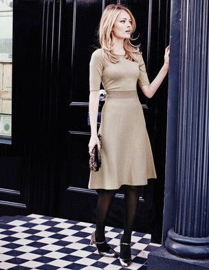 The Milano Dress from Boden is a perfect shape, in navy and champagne, both woven with metallic thread.