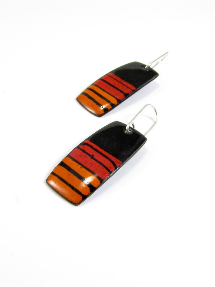 Enamelled Copper Earrings - Black red orange Lines