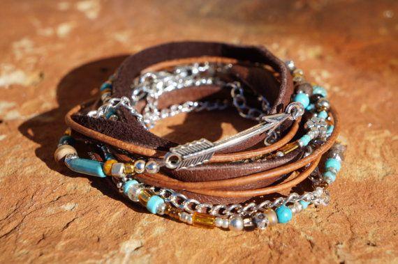 Boho Endless Leather Wrap Bracelet  Suede Silver Arrow