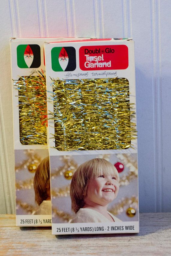 Vintage  Christmas Tinsel Retro Holiday Garland Gold