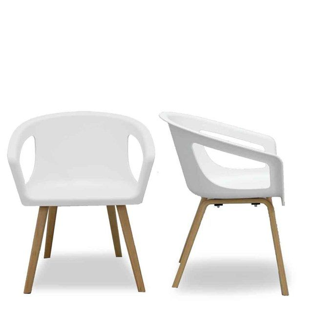 Chaise coque blanche et bois design shelwood la chaise for La chaise blanche