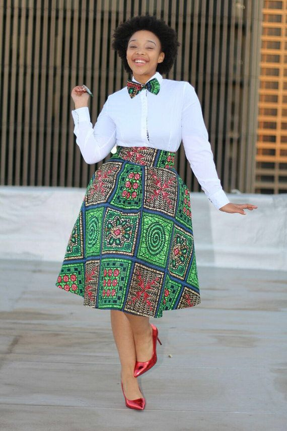 African Print Skirt With Bow Tie African Clothing Ankara