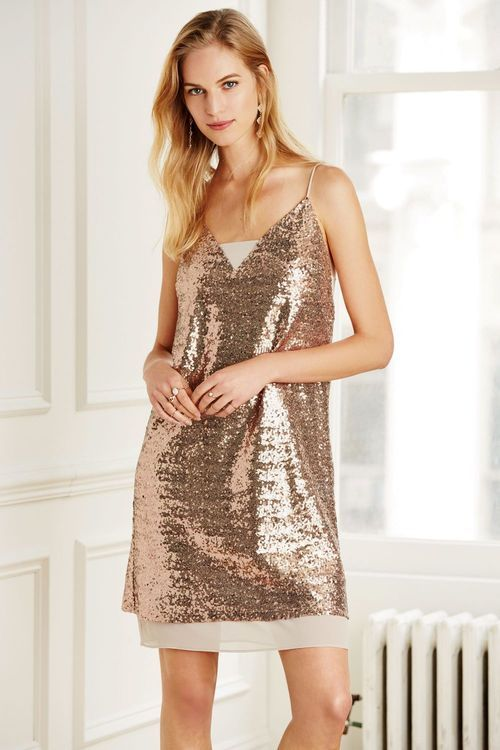 Next Rose Gold Sequin Cami Dress Online | Shop EziBuy