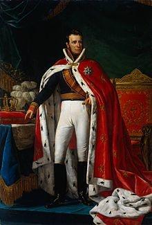 Willem I in koningsmantel.