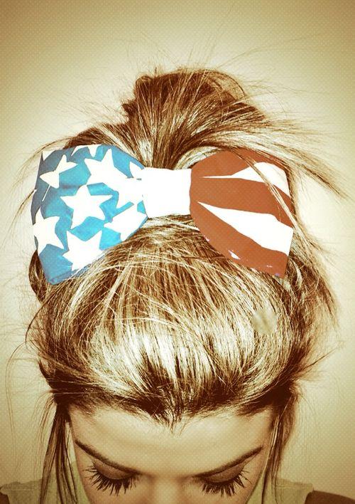 USA hair bow