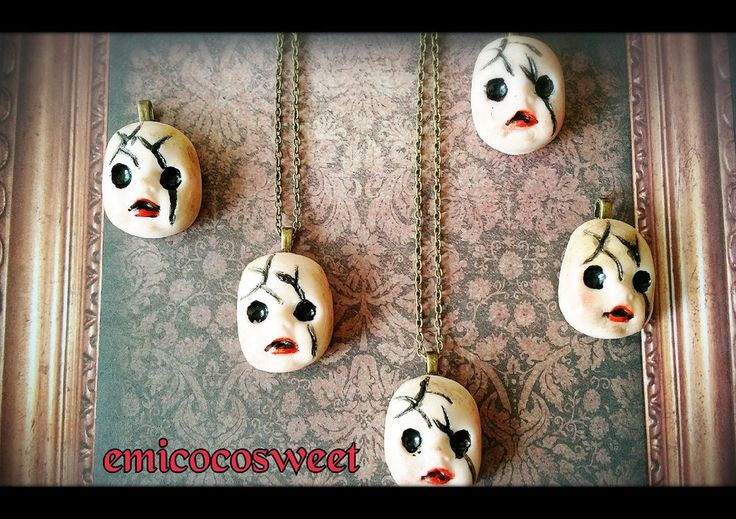 Creepy Doll Head,Creepy Cute Necklace,Gothic Doll Necklaces,Halloween Costume