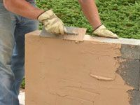 25 best ideas about concrete block retaining wall on for Concrete block stucco