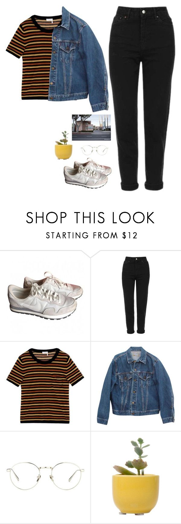 """""""Untitled #337"""" by abigayle-h ❤ liked on Polyvore featuring NIKE, Topshop, Sonia Rykiel, Levi's, Linda Farrow and Dot & Bo"""