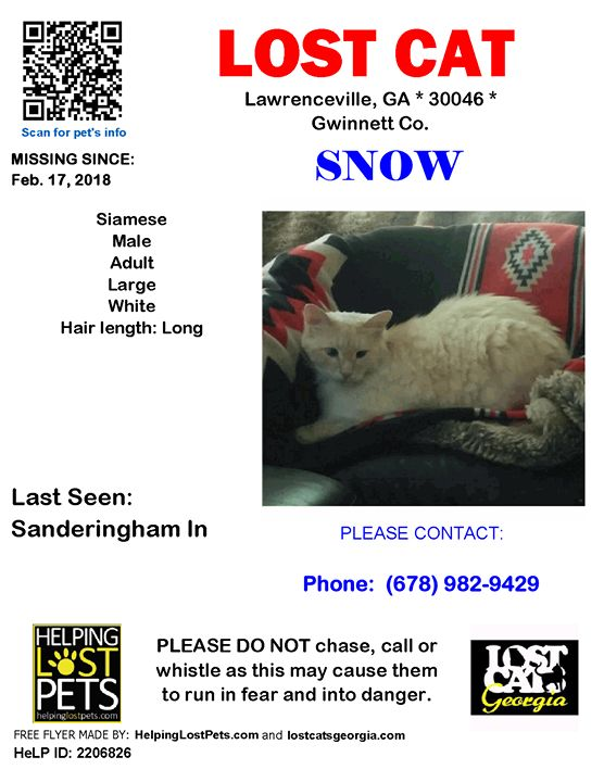 Lost Cat - Lawrenceville Ga - Feb. 17 2018 Closest Intersection - Sanderingham ln County - Gwinnett  #LOSTCAT #Snow #Lawrenceville (Sanderingham ln)  #GA 30046 #Gwinnett Co.  #Cat 02-17-2018! Male #Siamese White/  Note From Owner: Uses dog door to roam. Has done this for years. Never came home to eat Friday night. Worried!!  CONTACT (678) 982-9429  More Info Photos and to Contact: http://ift.tt/2BNZ0tk  To see this pets location on the HelpingLostPets Map: http://ift.tt/2oooQg8  Let's get…