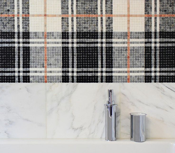 Plaid Mosaic Tile Balmoral Plaid Tulip Black Mosaic by AKDO.  10 Offbeat Plaids For New Projects | Companies | Interior Design
