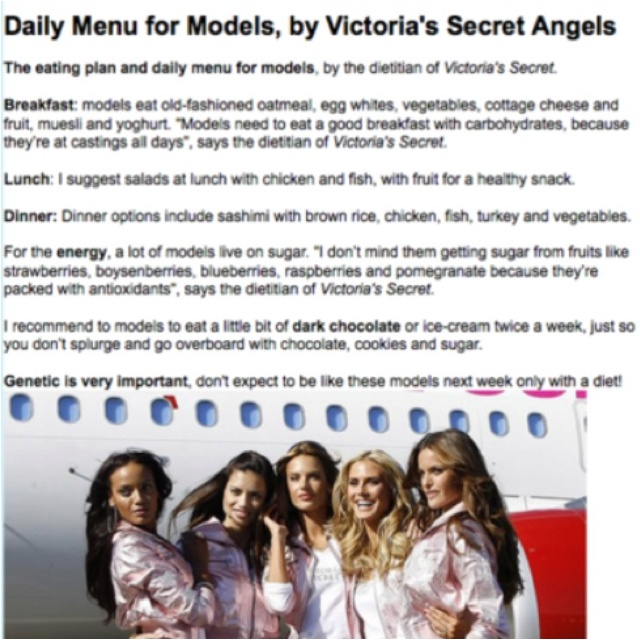 Victoria Secret Diet Plan – What VS Models Eat Year Round