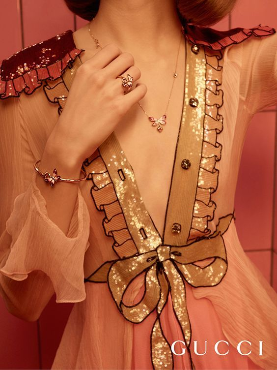 Gucci Flora: the House's botanical motif takes shape in an 18k pink gold necklace, ring and bracelet set with shimmering gemstones.: - http://amzn.to/2goDS3g