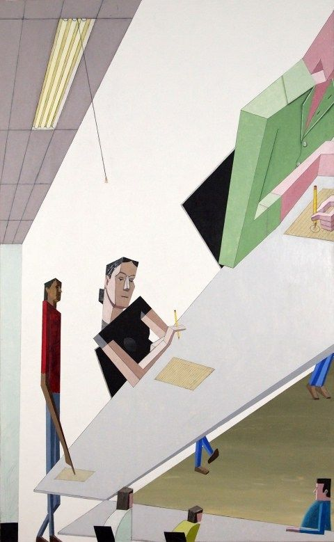 Mernet Larsen's Paintings Feature Geometric Figures, Distorted Perspectives…