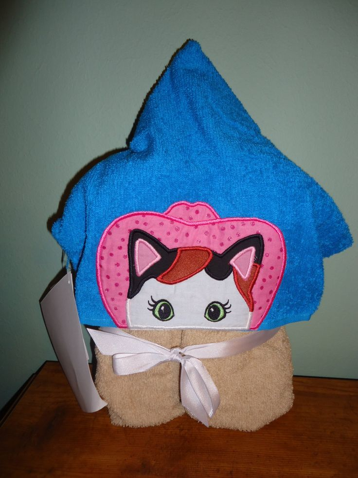 Calico Sheriff Cat Hooded Towel, Pink Cowboy Hat, Calico Cat, Children's Hooded Towel by Marshaslilcraftpatch on Etsy
