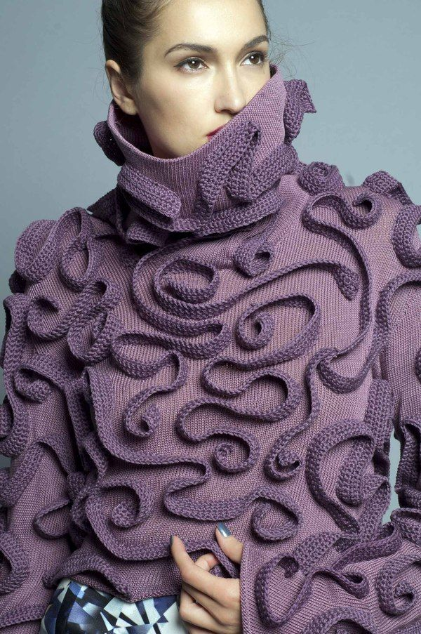 Crochet inspiration~ Surface embellish a sweater with  crocheted chains arranged in a freeform design. { Wizo Haifa by Miri Davidovitz}