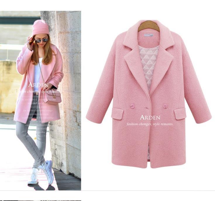 Sxm 2015 новые Morden зимнее пальто тонкий длинные смеси твердые отложным воротником шерстяное пальто одной кнопки розовый синий женское пальто женщина купить на AliExpress