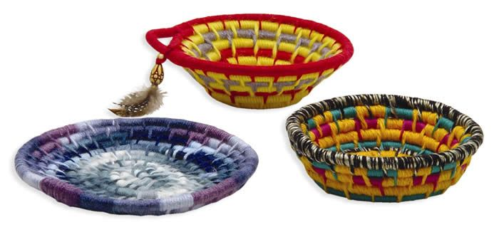 Coil baskets by hand- no sewing machine needed.