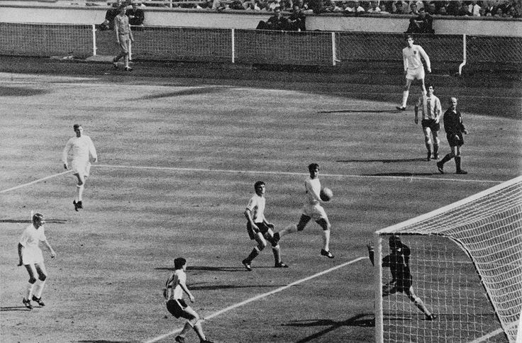 23rd July 1966. England centre forward Geoff Hurst heading home the winner against Argentina in the World Cup Quarter Final, at Wembley.