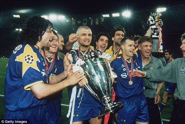Juventus players celebrate winning the Champions League with victory over Ajax in 1996