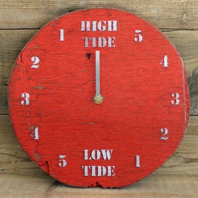 tide clock red and white driftwood sailors gift by reclaimed time - Tide Clock