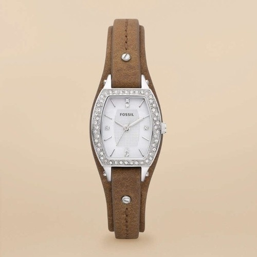 Fossil Womens Marjorie Glitz Stainless Watch Leather Strap Pearl Dial JR1334   eBay