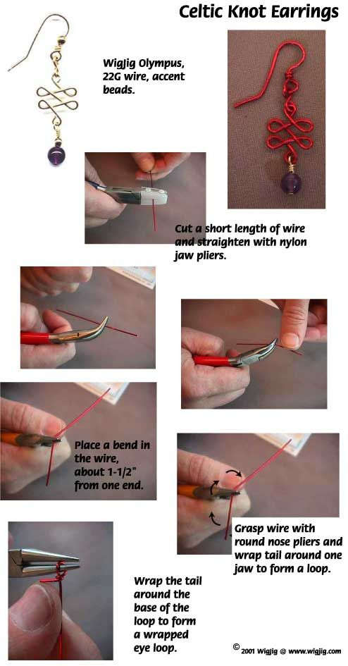 Celtic Knot Wire and Glass Beads Earrings Jewelry Making Project - Pg 1 Made with WigJig Jewelry Tools and Supplies.
