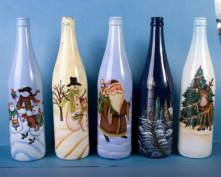 Image detail for -Mr. Fly : Christmas Painted Wine Bottles ~ 6 Asst [A987699] - $1.69