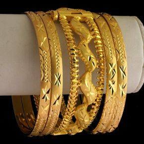 Indian Wedding Bangles | GOLD TONE 5 PC INDIAN BRIDAL BANGLE-Gold Tone & Silver Tone Bangles ...