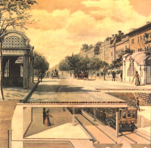 The Budapest Metro, circa 1896, showing how this, the 2nd underground system in the world, was constructed in the open and then covered over with a roadway, (Andrassy Avenue)