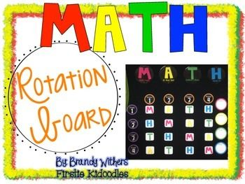 50% off for the next 48 hours! Math Rotation Board {Primary Colors}