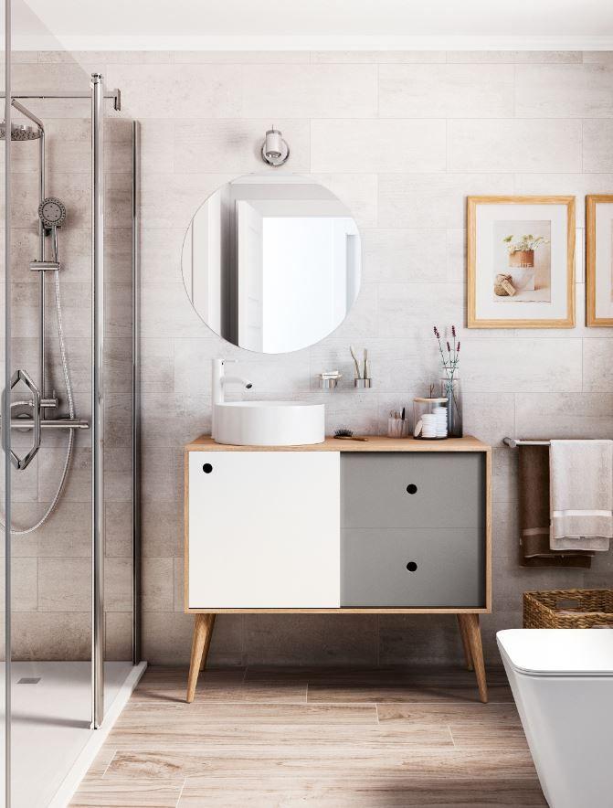 El estilo escandinavo llega hasta el baño, con tonos suaves y cálidos.