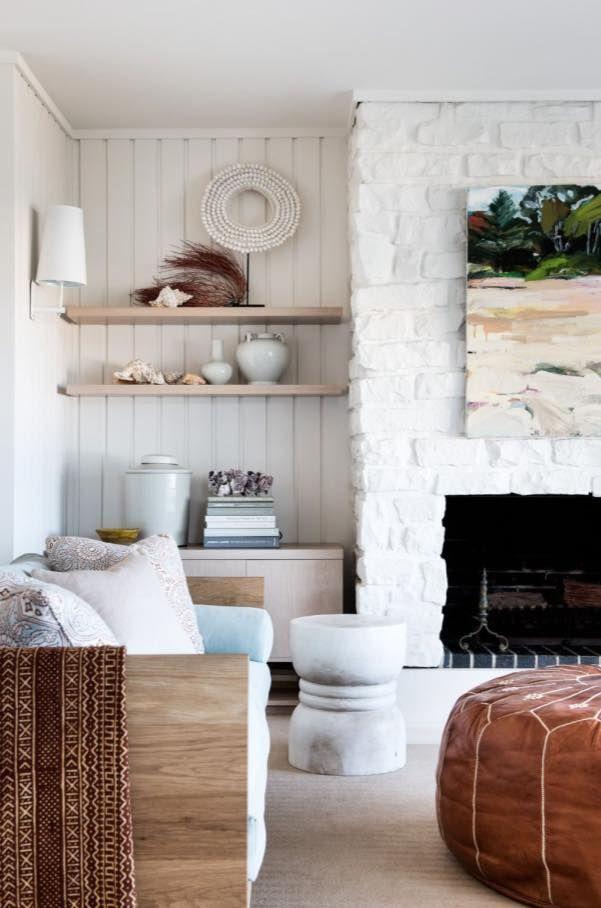 White painted bricks for living room