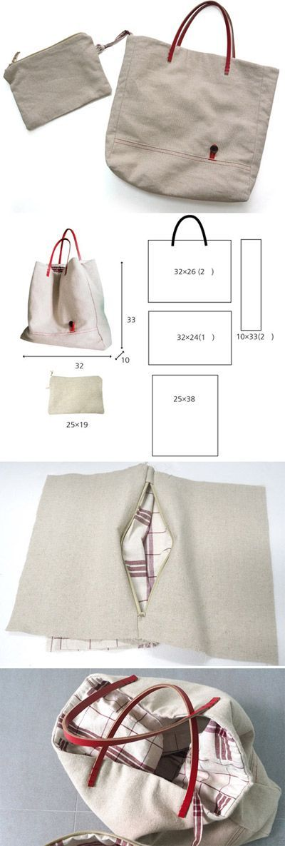 Tendance Sac 2017/ 2018 : Sew a tote bag with leather handles.  Photo Tutorial  www.free-tutorial