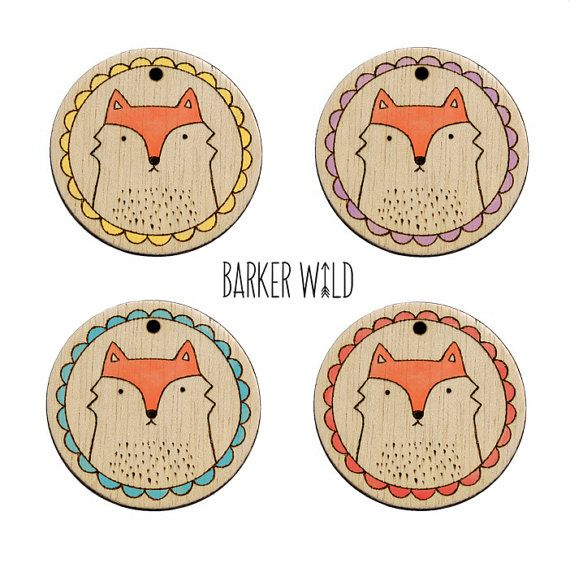 Fantastic Fox Pendant  Watercolour Pyrography by BarkerWild barkerwild.com  (NO re-pinning on DIY/ Ideas boards)