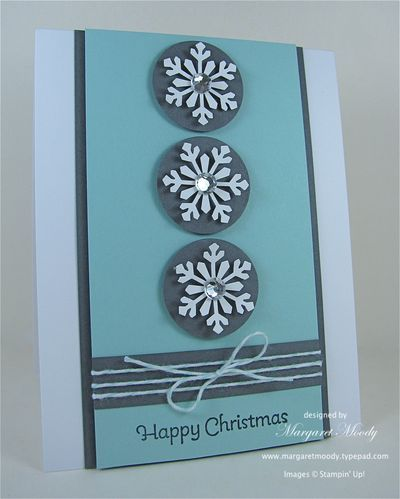 handmade Christmas card ... blues ... luv the layout design ... three punched snowflakes on circles ... linen thread wrapping ... like this card!!