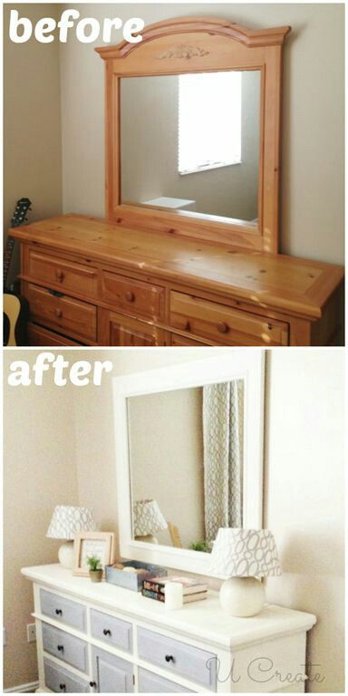 I need to refinish our guest bedroom set. I also want to turn the mirror into a wall hanging mirror .