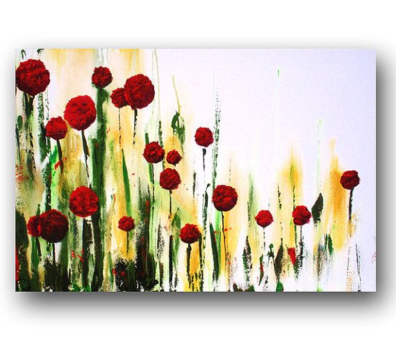 Red Abstract Flowers Painting Floral by heatherdaypaintings, $275.00